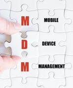 Concept image of Business Acronym MDM as Mobile Device Management Stock Photos