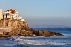 Atlantic Ocean Rocky Coast in Estoril - stock photo