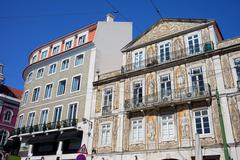 Tiled Building in Chiado District of Lisbon - stock photo