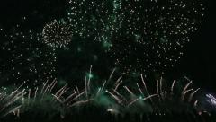 People watching fireworks display Stock Footage