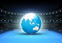 blue world map placed on a blue court set on Asia - stock illustration