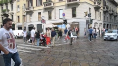Milan city center, intersection of Alessandro Manzoni and Monte Napoleone Stock Footage