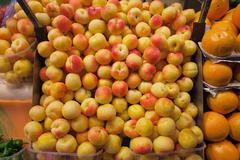 Peaches Stall - stock photo
