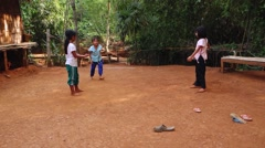 Children in a Hill Tribes Village, Northern Thailand Stock Footage