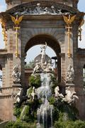 The Cascada in Ciutadella Park in Barcelona Stock Photos