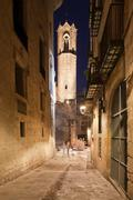 Night in the Gothic Quarter of Barcelona - stock photo