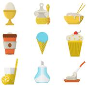 Lunch menu flat color icons Stock Illustration