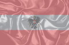 Silk Austrian Flag and Coat of Arms Stock Illustration