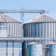 Storage facility cereals, and biogas production - stock photo