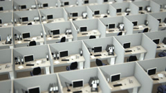 Cubicles In Empty Office Stock Footage