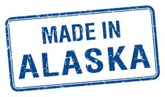 Stock Illustration of made in Alaska blue square isolated stamp