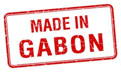 made in Gabon red square isolated stamp - stock illustration