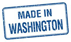 made in Washington blue square isolated stamp - stock illustration