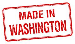 made in Washington red square isolated stamp - stock illustration