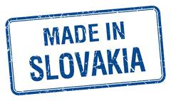 Stock Illustration of made in Slovakia blue square isolated stamp