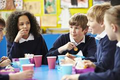 Schoolchildren Sitting At Table Eating Packed Lunch Stock Photos
