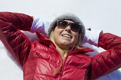 Overhead Shot Of Woman Having Fun On Winter Holiday Stock Photos