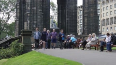 Visitors at the Scotts Monument, Edinburgh, Scotland, June 2015 Stock Footage