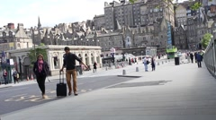 14 JUNE, 2015, outside Waverley Train Station, at Waverley Bridge Street. - stock footage