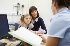 Appointment For Mother And Daughter With Nurse Stock Photos
