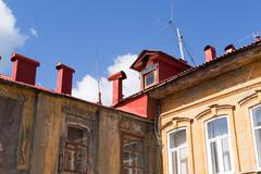 Stock Photo of Traditional Russian Roofing and Housing