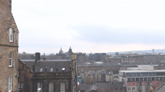 Panoramic shot over Edinburgh capital, Scottish architecture seen from above Stock Footage
