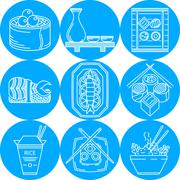 Asian food line vector icons - stock illustration