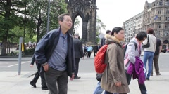 EDINBURGH, SCOTLAND - 14 JUNE, 2015,  Tourists in Princes Street - stock footage