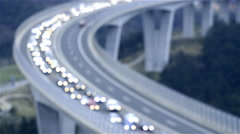 Traffic jam vehicles on bridge out of focus 4K Stock Footage
