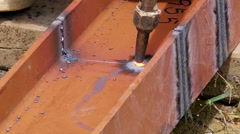 Metal cutting with heat by hand. Dangerous working atmosphere Stock Footage