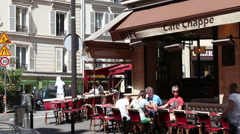 Parisian typical street with cafe Stock Footage