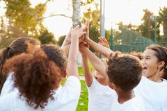 Youth Football Team Training Together Stock Photos