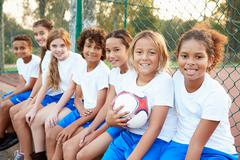 Portrait Of Youth Football Team Training Together Stock Photos