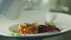 Chef is Garnish Dish with Lobster in Luxury Restaurant Arkistovideo