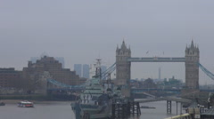 Big boat on Thames river, britain spring season with clouds on sky, architecture Stock Footage