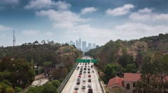 Freeway road to downtown Los Angeles, Daytime. 4K UHD Timelapse. Stock Footage