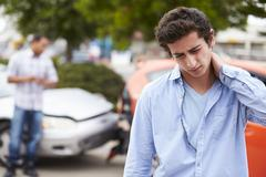 Teenage Driver Suffering Whiplash Injury Traffic Accident Stock Photos