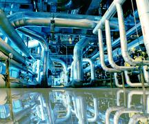 Industrial zone, Steel pipelines in blue tones with reflection Stock Illustration