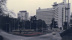 Sochi 1985: traffic in front of Moskva hotel Stock Footage