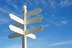 direction sign with blank spaces for text - stock photo