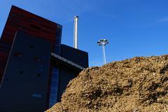 bio power plant against blue sky - stock photo