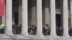 Stock Video Footage of England National Gallery columns building, London cityscape landmark, tourists
