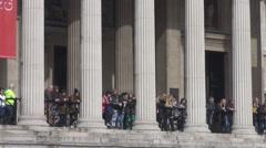 England National Gallery columns building, London cityscape landmark, tourists Stock Footage