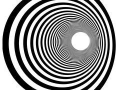 Tunnel vortex in concentric black and white stripes Stock Illustration