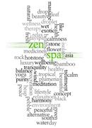 Stock Illustration of word cloud of zen and spa and its related words