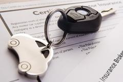 Car Keys On Insurance Documents Stock Photos
