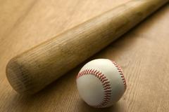 Baseball Bat And Ball Stock Photos