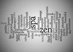 Word cloud of zen and spa and its related words Stock Illustration
