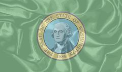 Silk Flag of Washington State - stock illustration