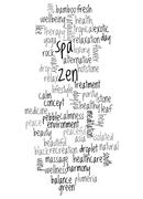 word cloud of zen and spa and its related words - stock illustration